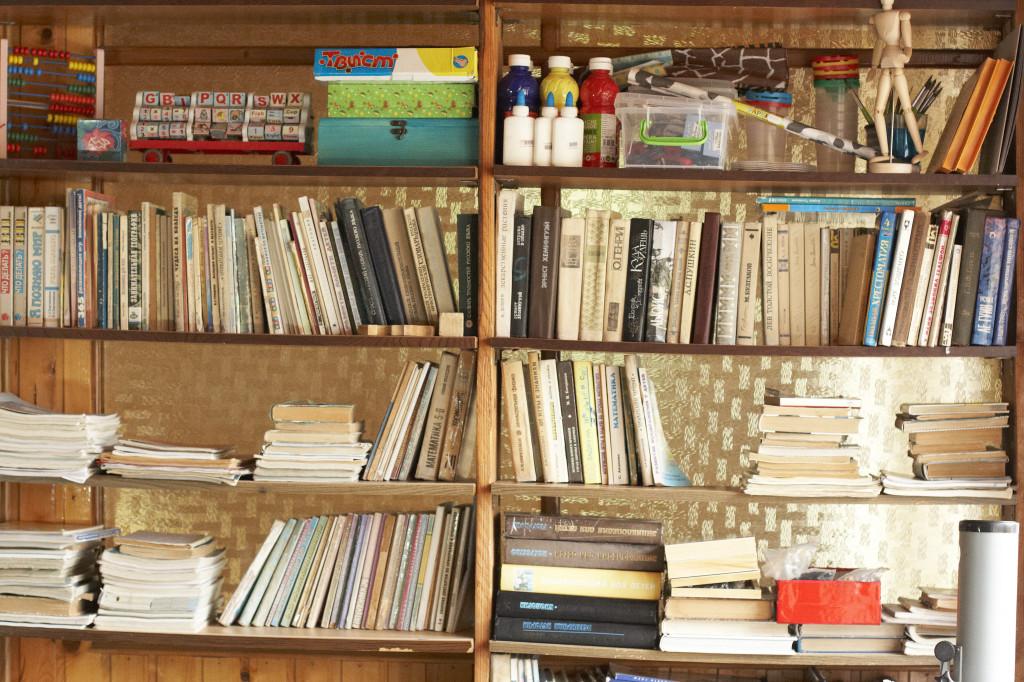школа Сергея Мокана, стеллаж с книгами
