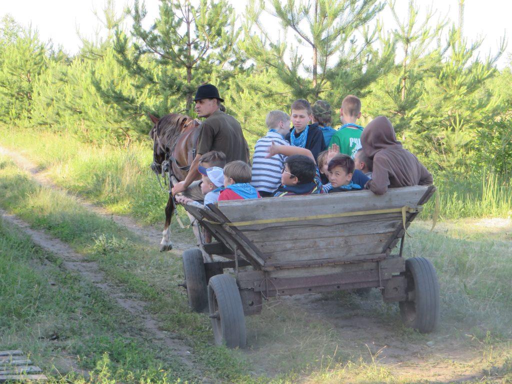 дети катаются в телеге