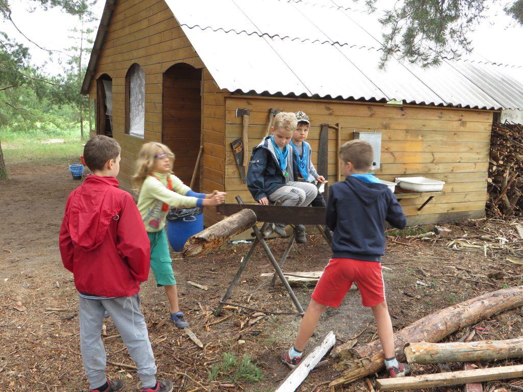 дети пилят дрова